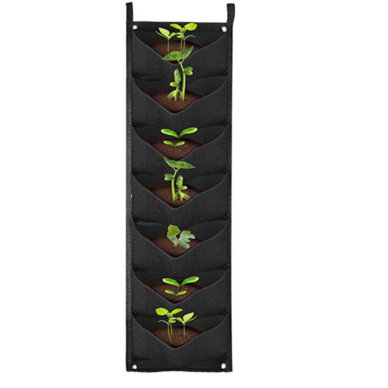 Costbuys  Home Garden Planter Wall-mounted Planting Flower Grow Bag 7 Grids Vegetable Living Garden Home Supplies - Black