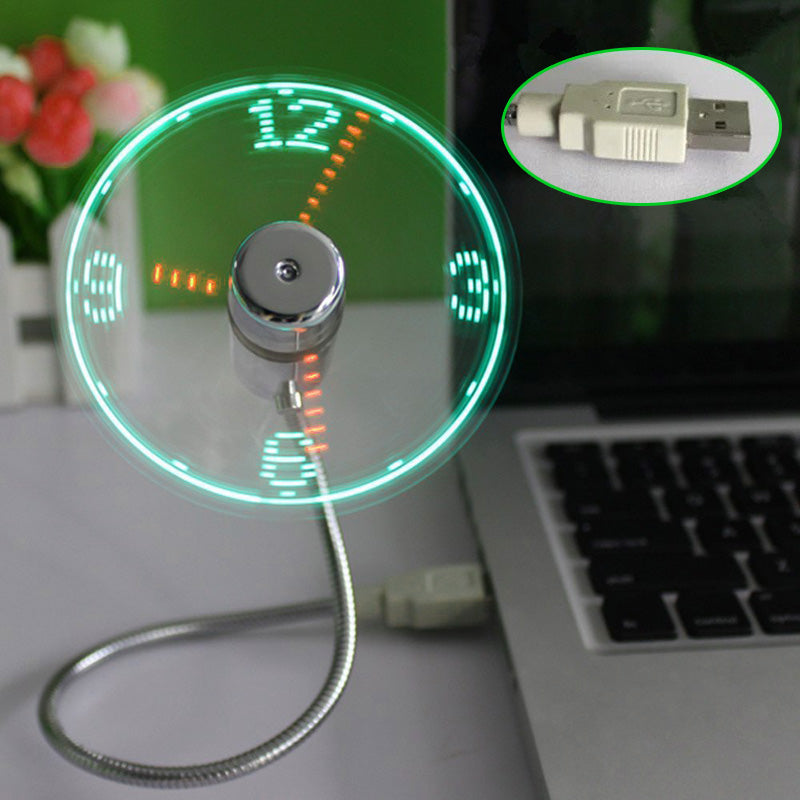 Costbuys  New Party Decoration Green Lighting Clock LED USB Fan Clock Mini Flexible Time with LED Light Party Cool Gadget Suppli