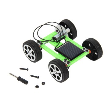 Costbuys  New Solar Power Mini DIY Car Assembled Intelligence Toy Car Kit Educational Gadget Gifts for Children - Black