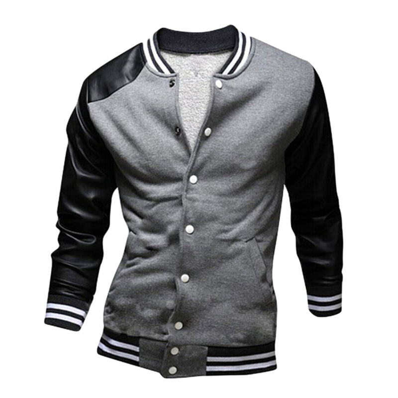 Costbuys  Sping Autumn Fashion Men Clothe Slim Fit Long Sleeve Bomber Jacket Men's Patchwork Casual Fitness Men Jackets Coat F15