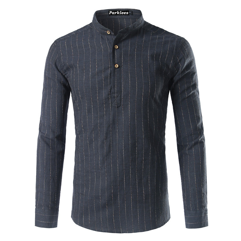 New Striped Linen  Shirt Men  Spring Autumn Fashion Men's Slim Fit Long Sleeve Stand Collar Shirts