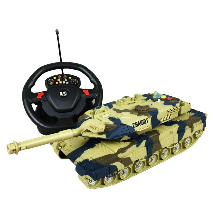 Costbuys  Tank Four-channel Steering Wheel Remote Control Tank Will Tell The Story Of Music Lights Children's Toys