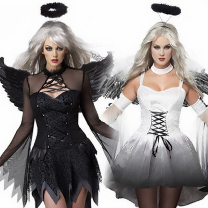 Costbuys  White Black Dark Devil Fallen Angel Costume Women Sexy Halloween Party Adult Gothic Ghost Bride Witch Costume Fancy Dr