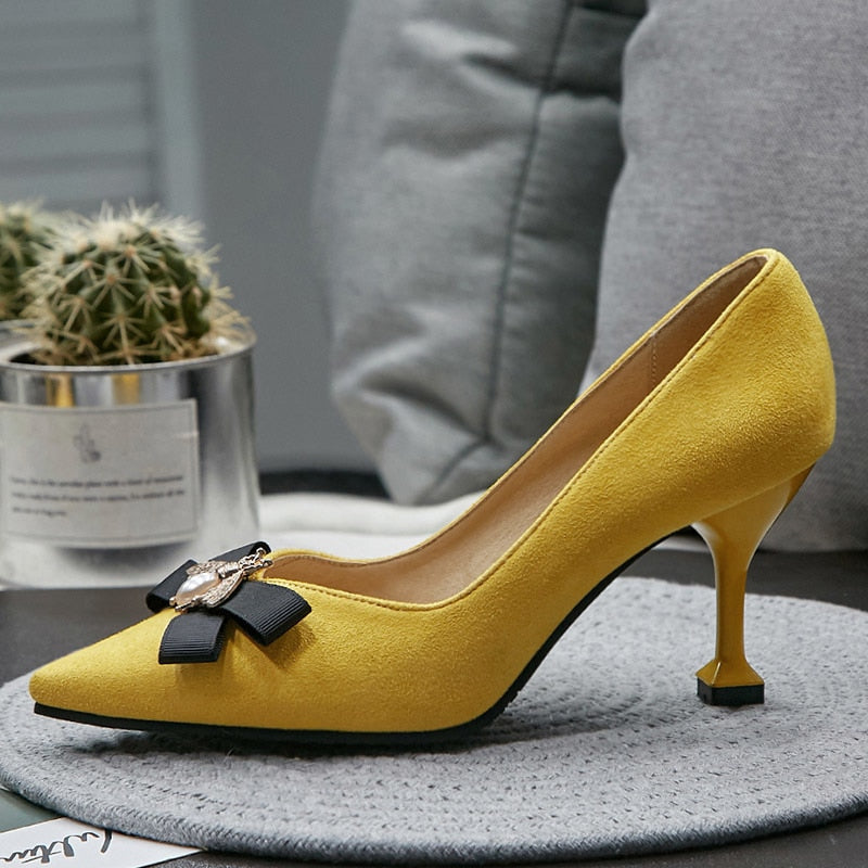 Costbuys  Women Thin High Heels Pumps Autumn Yellow Black High Heels Pointed Toe Bowtie woman shoes Pumps for Ladies Plus Size 4