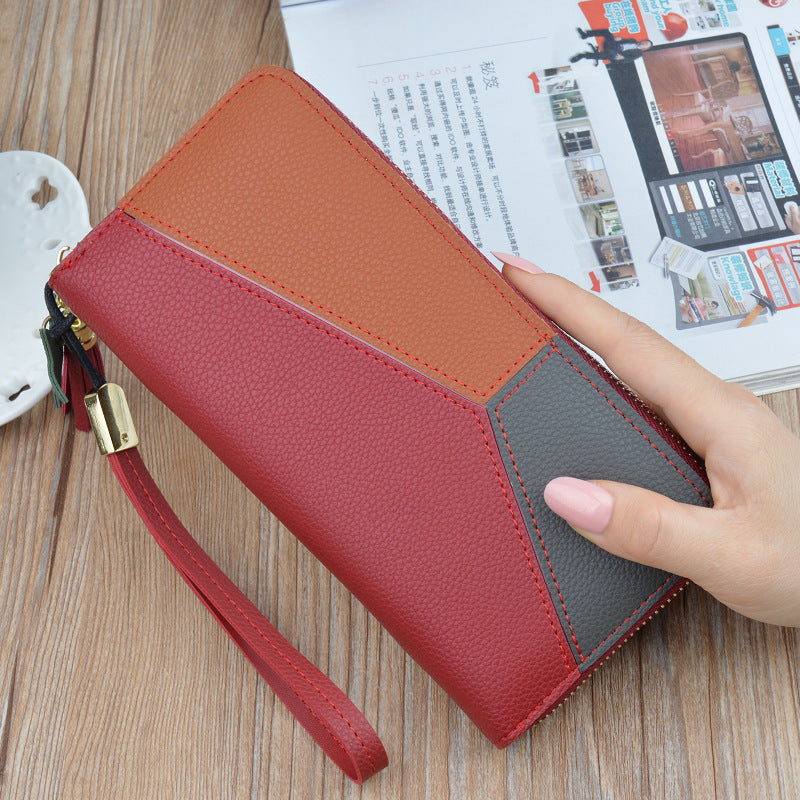 Costbuys  New Women Wallet Long Zipper Multi-function Clutch Bag Female Stitching Criss-Cross Color Large Capacity Card Holder W