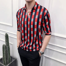 New arrival v-neck mens shirts 2018 summer casual loose mens clothing men fashion stripped half sleeve shirt