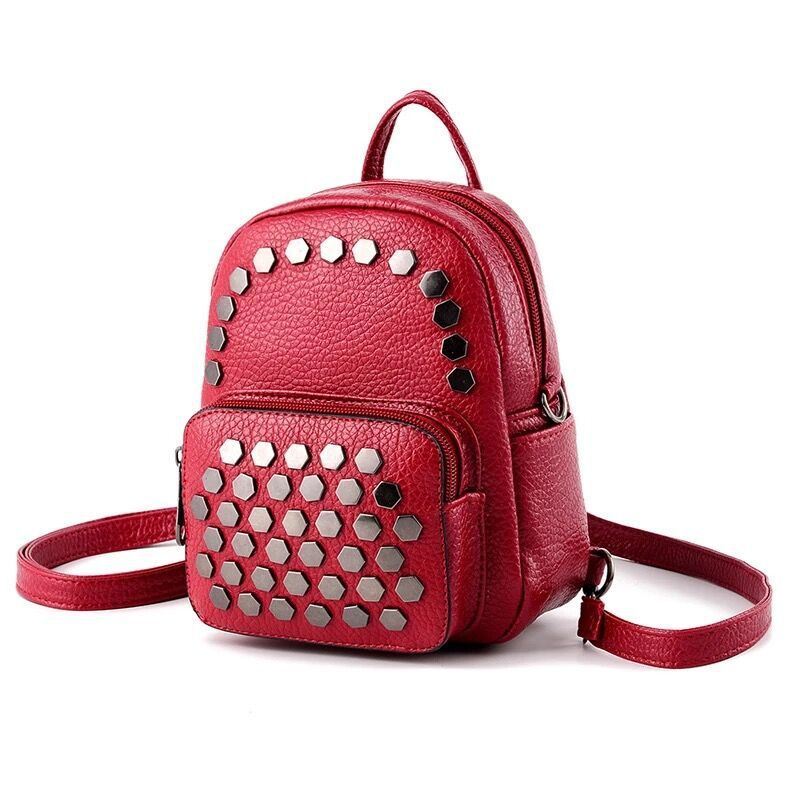 Costbuys  New fashion MIni backpacks for teenage girls women waterproof PU Leather colleage bags Feminine small rivet travel bac