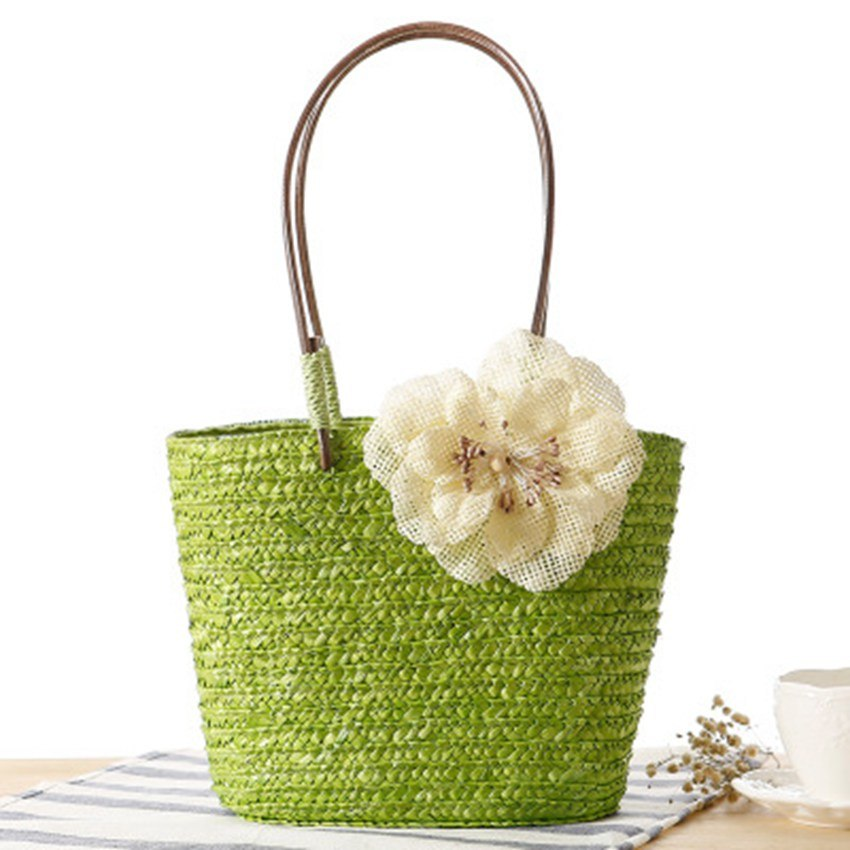 Costbuys  New small twist flower bag fashion handbag small and medium folk style women's weaving travel holiday beach bag Top-Ha