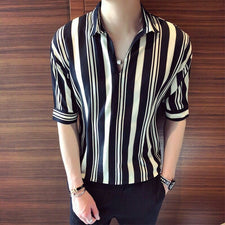 New summer fashion men's striped shirt sexy male half sleeve blouse shirts fashion stripes soft chiffion clothes free shipping