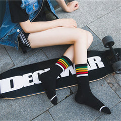 trend autumn street style Rainbow Striped Socks All cotton college wind street strip skateboard socks unisex Harajuku Meias