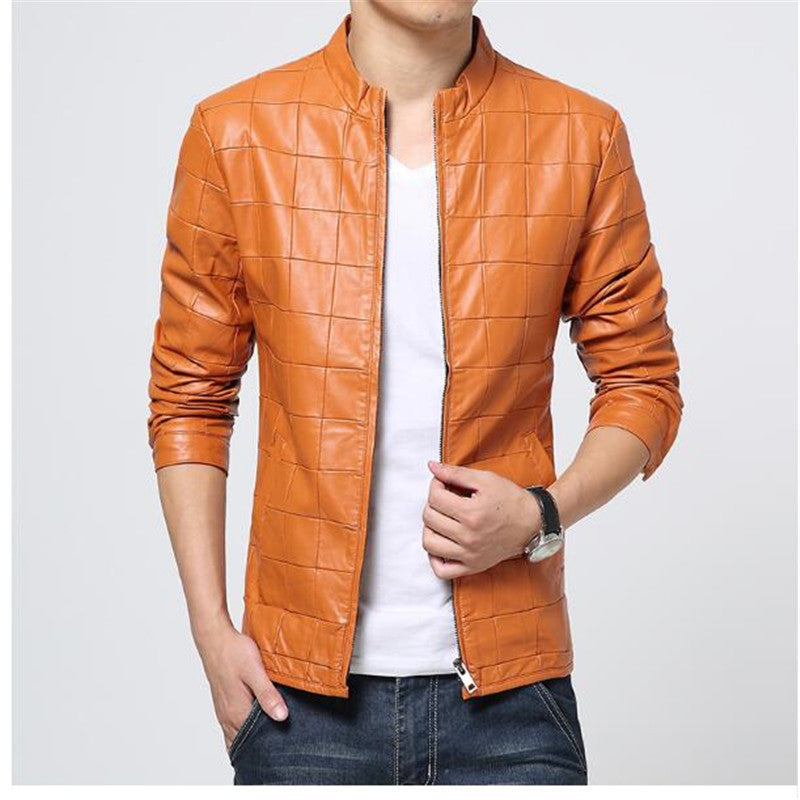 Costbuys  fashion Grid jacket coats for mens Leather Jaquetas male Jackets coat Winter Leather Suede basic Jacket - 3 / XL