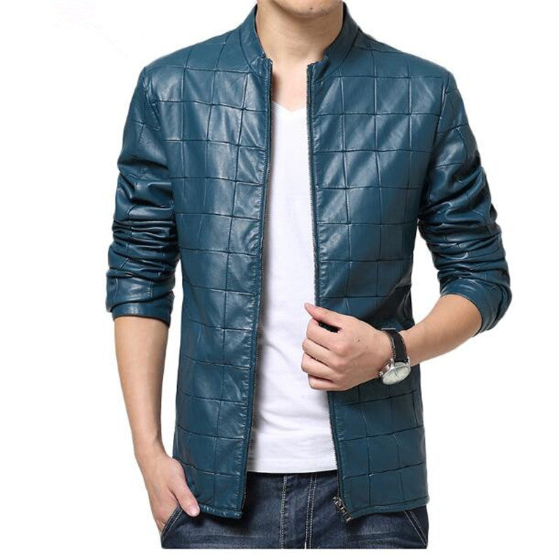 Costbuys  fashion Grid jacket coats for mens Leather Jaquetas male Jackets coat Winter Leather Suede basic Jacket - 1 / XL