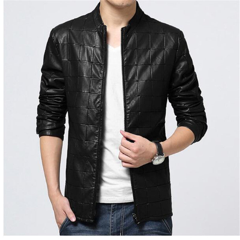 Costbuys  fashion Grid jacket coats for mens Leather Jaquetas male Jackets coat Winter Leather Suede basic Jacket - 2 / XL