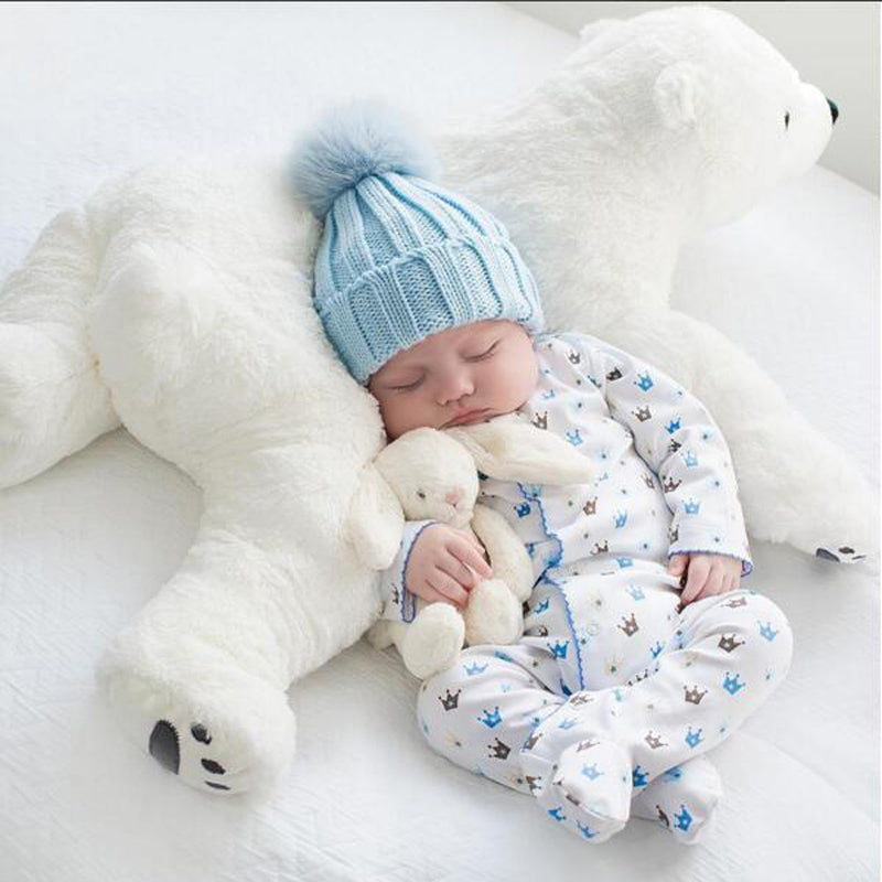 Costbuys  Newborn Baby Pillow Polar Bear Stuffed Plush  Animals Kawaii Plush Baby Soft Toy Kids Toys For Children's Room Decorat