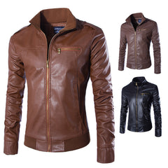 Motorcycle Leather Jackets Men Solid Business Casual Coats Autumn Winter Leather Clothing Bomber Slim Jacket for Male