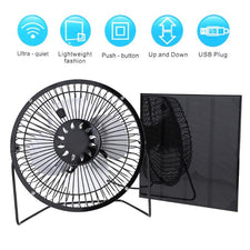 Newest USB 4.5W Iron Fan 6V Solar Panel with 6 Inch USB Cooling Ventilation Fan for Home Office Outdoor Traveling Fishing
