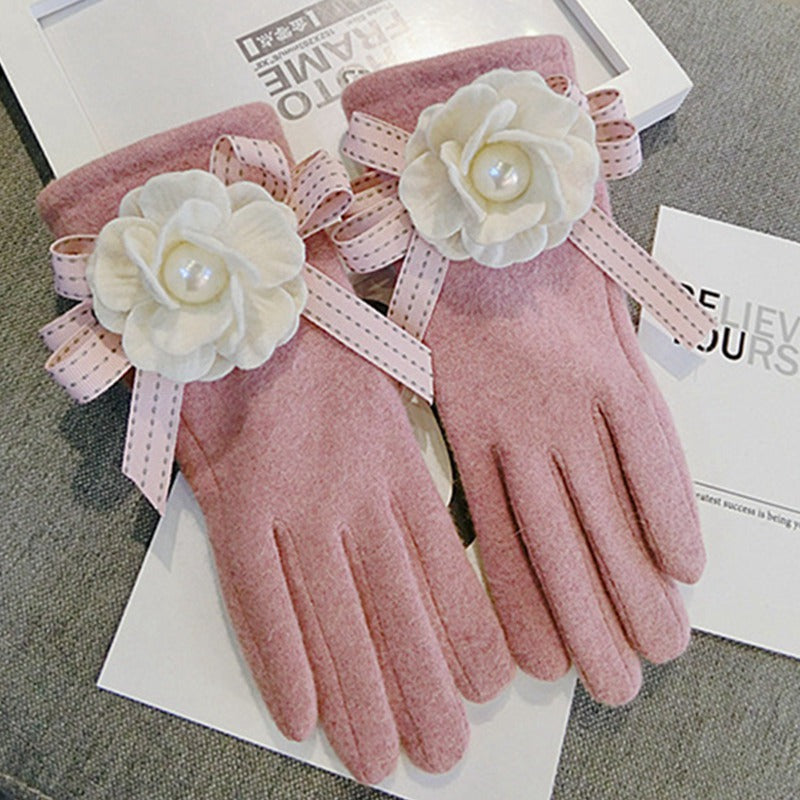 Costbuys  Winter Gloves Women Cashmere Women Gloves Full Finger Touch Screen Warm Mittens Wool elegant Gloves Candy - pink / Fre