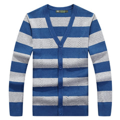 Men sweater cardigan autumn and winter new men's fashion striped v-neck sweater 2018 plus size XXXL