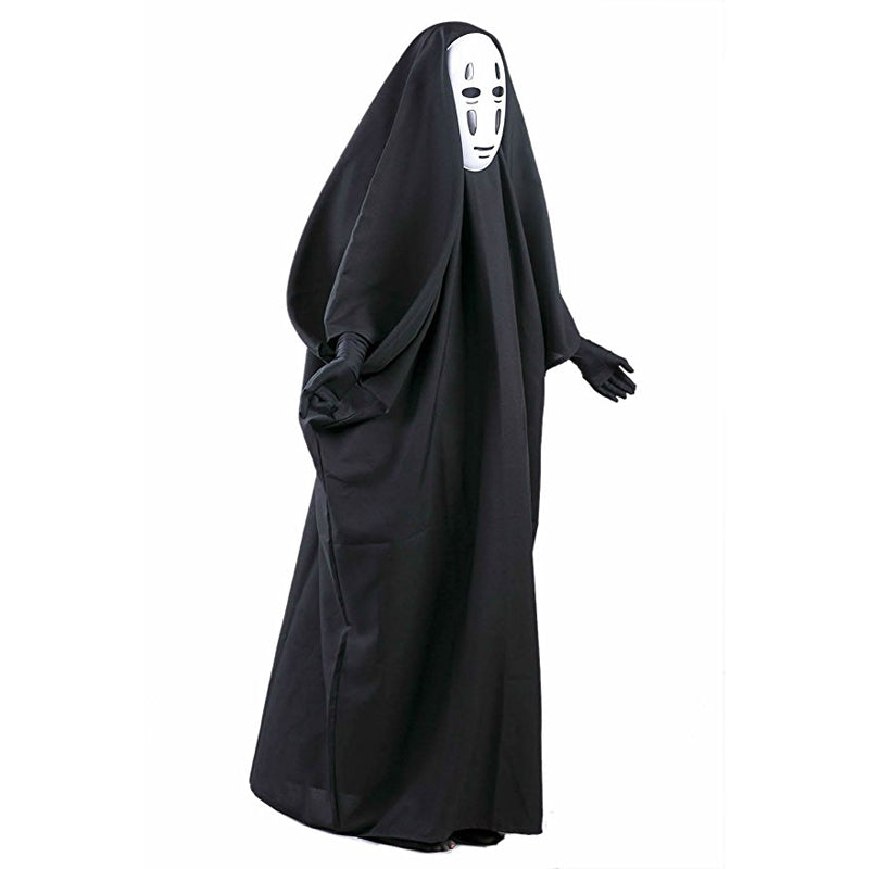 Costbuys  No Face Man Spirited Away Cosplay Costume with Mask gloves for Halloween Costume Anime Miyazaki Hayao Faceless Cloak -