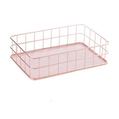 Costbuys  Nordic Simple Rose Gold Basket Craft Ornament Storage Rack Desktop Art Decor Home Decoration Storage Organizer Living
