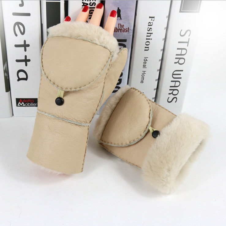 Costbuys  Winter women's sheepskin mittens leather gloves office outdoor universal warm winter fur natural multi color - Khaki /