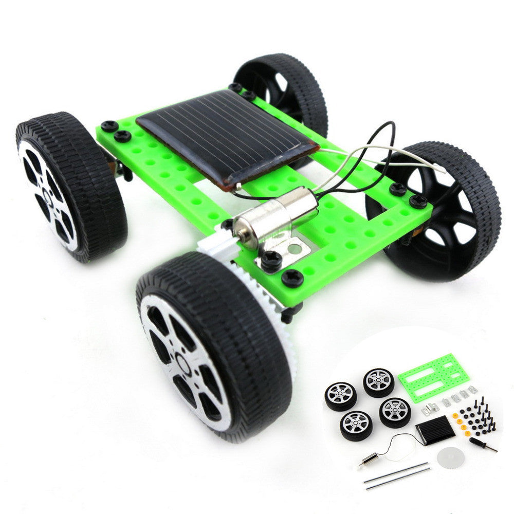 Costbuys  Novelty Gag Toys Solar Powered Mini Toy DIY Car Kit Children Educational Gadget Hobby Funny Kids Gift - Green