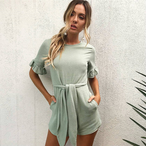 Rompers Women Jumpsuit  New Fashion Sleeveless Sexy Backless Round Neck Knitted Bodycon Grey Long Pant Jumpsuits