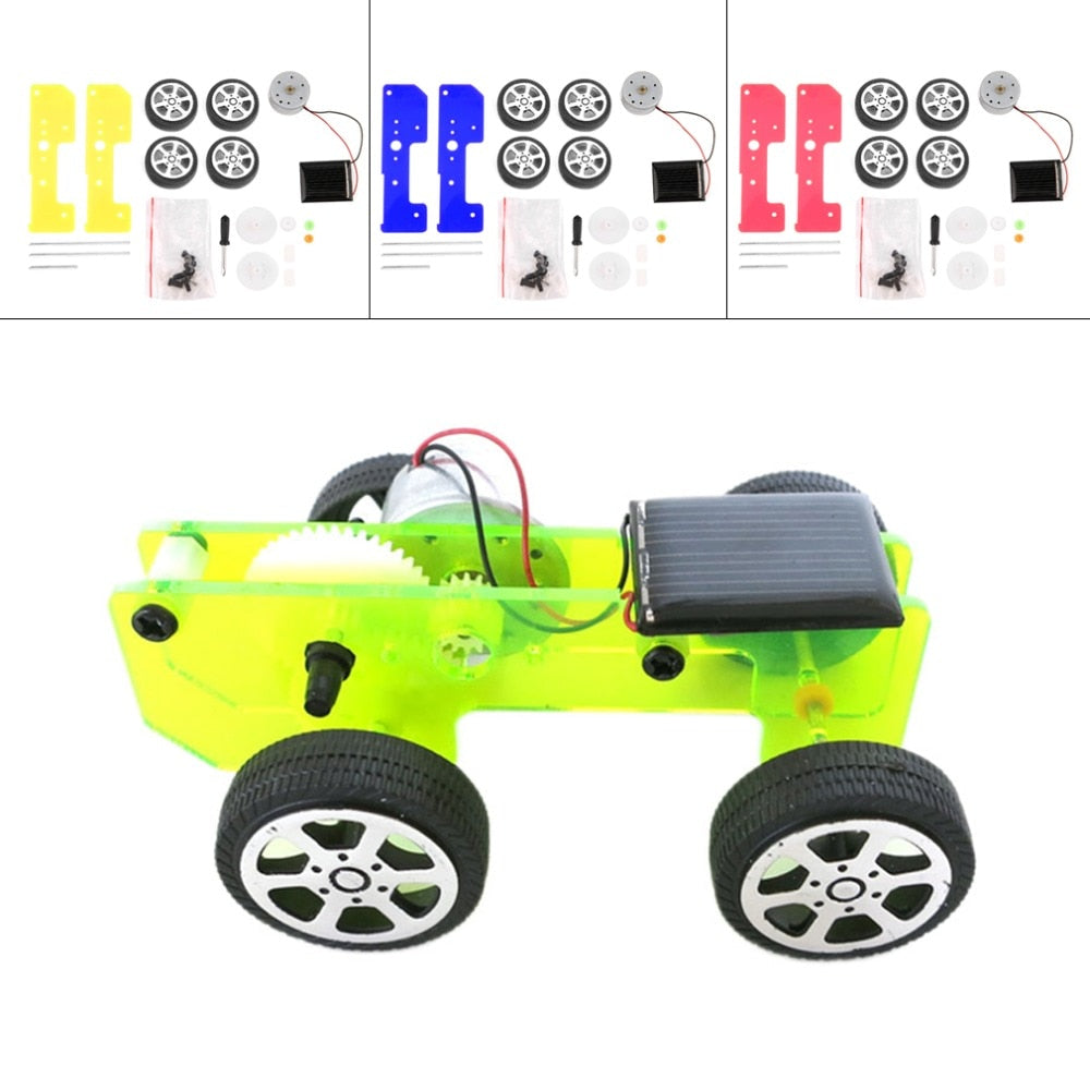 Costbuys  1pc Self assembly Mini Funny Solar Powered Toy DIY Car Kit Children Educational Gadget Hobby New Sale - Red