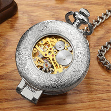 Antique Skeleton Mechanical Pocket Watch gift Men Chain Necklace Business Casual Pocket & Fob Watches Luxury Watch