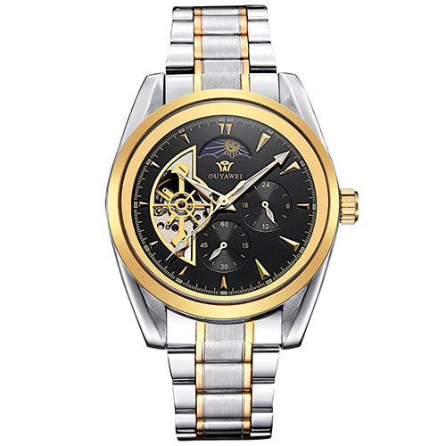 Costbuys  Clock Men Multi-functional Mechanical Watch Mens Automatic Wristwatches Stainless Steel Band Skeleton Reloj Hombre - G