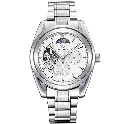 Costbuys  Clock Men Multi-functional Mechanical Watch Mens Automatic Wristwatches Stainless Steel Band Skeleton Reloj Hombre - W