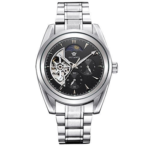 Costbuys  Clock Men Multi-functional Mechanical Watch Mens Automatic Wristwatches Stainless Steel Band Skeleton Reloj Hombre - B