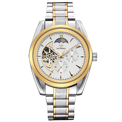 Costbuys  Clock Men Multi-functional Mechanical Watch Mens Automatic Wristwatches Stainless Steel Band Skeleton Reloj Hombre - M