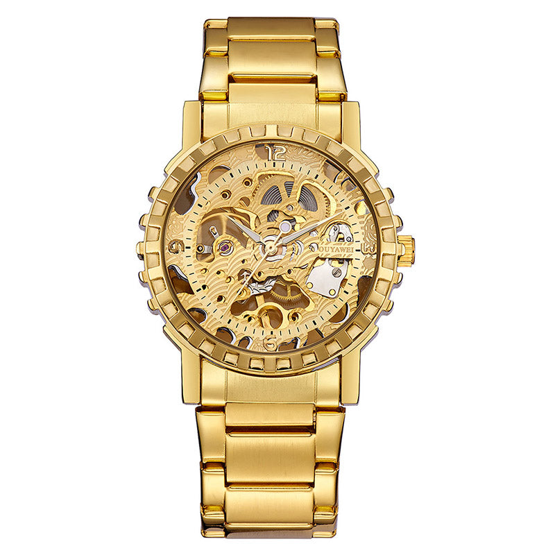 Costbuys  Watch Men Skeleton Automatic Mechanical Watch Gold Skeleton Vintage Man Watch Mens Watches Top Brand Luxury brand cloc