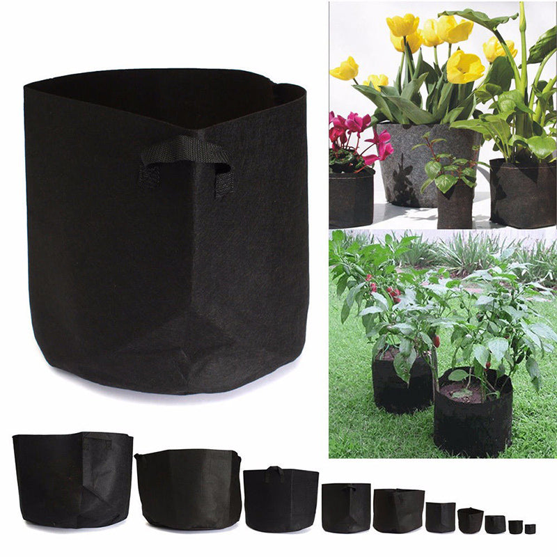 Costbuys  Outdoor Indoor Garden Planting Bags Black Fabric Pots Plant Vegetable Potato Pouch Round Pot Container Grow Bag Garden
