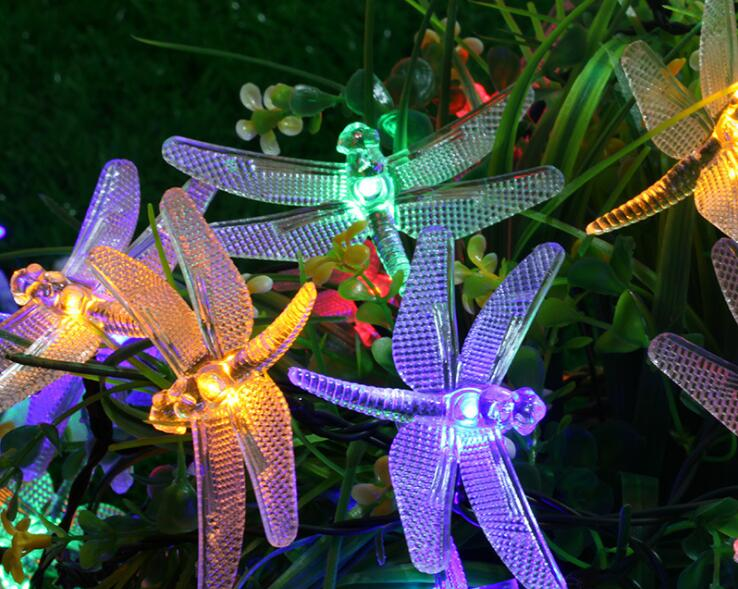 Costbuys  Outdoor Solar Led String light 5M 20 Led dragonfly solar panel strip light IP65 Waterproof Garden square decoration le