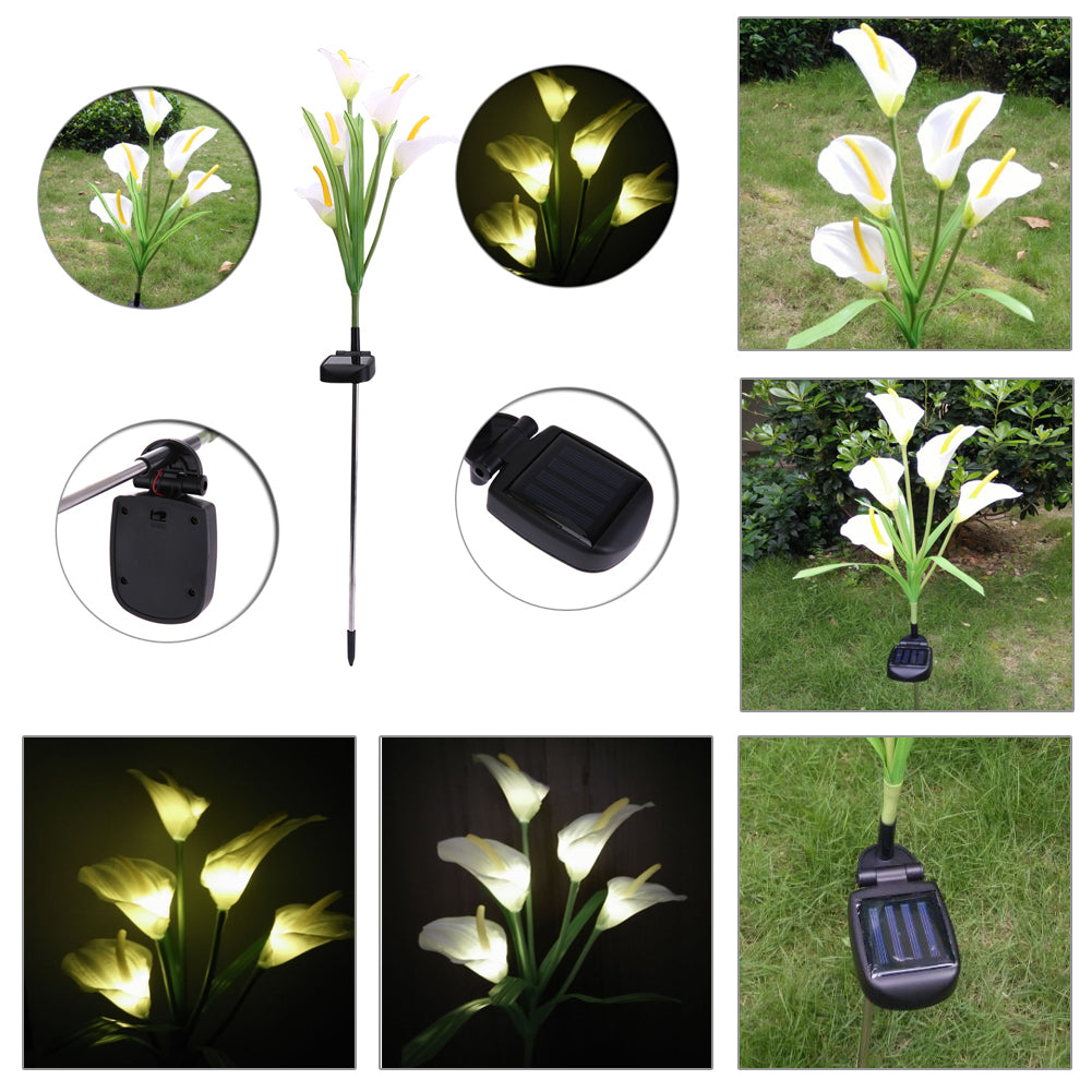 Costbuys  Outdoor Solar Powered LED Horseshoe Flower Light Waterproof 5 LED Lamp for Yard Garden Path Way Landscape Decorative N