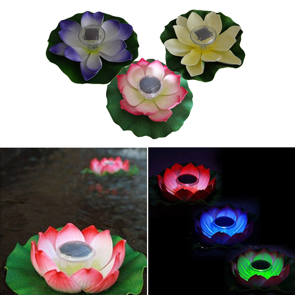 Costbuys  Outdoor Solar Powered LED Light Garden Floating Lotus Night Light Flower Lamp for Pool Pond Fountain Decoration Nightl