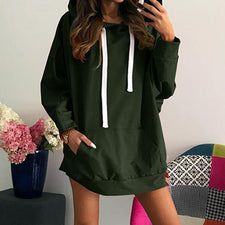 Autumn Winter Womens Long Sleeve Hooded Pullover Loose Casual Warm Sweatshirt WS4311X