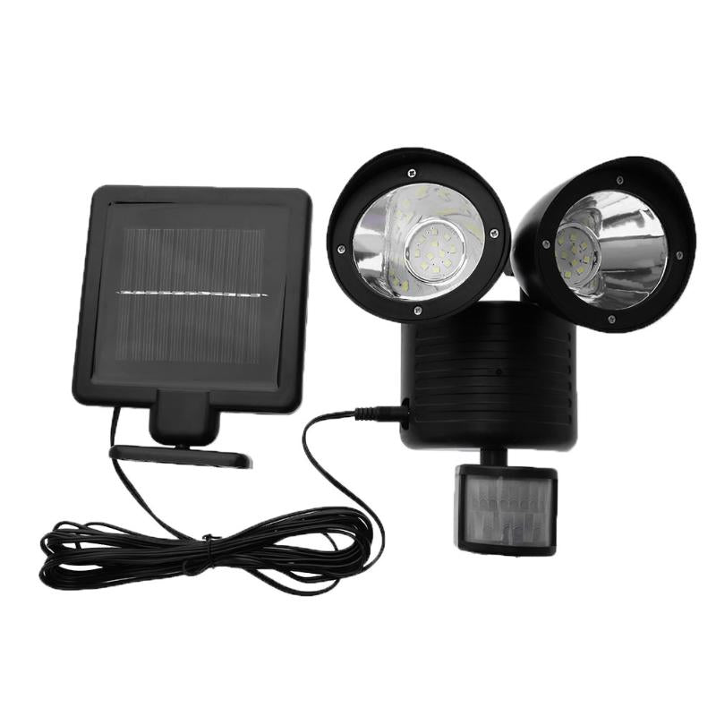 Costbuys  PIR Motion Sensor Light Waterproof 22 LED Solar Powered Light Double Dural Heads Security Wall Lamp for Outdoor Garden