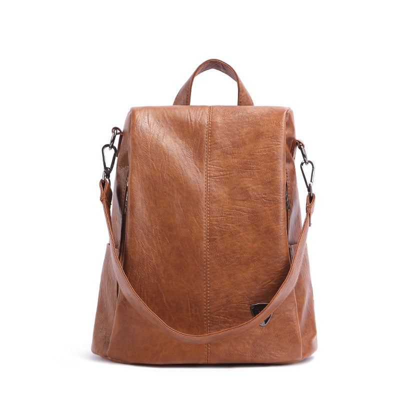 Costbuys  Backpack Female New Women PU Leather Backpack Bag Anti Theft High Quality Softback Vintage Travel Backpacks For Girls
