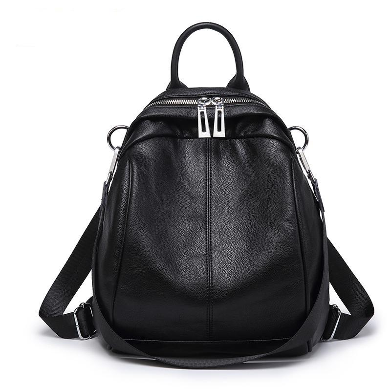 Costbuys  Backpack Women Autumn Small Backpack Soft Leather Fashion Women Backpack School Bags For Teenage Girls - black backpac