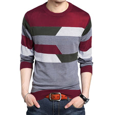 Patchwork Casual Knitting Pullovers Spring Autumn O Neck Fashion Sweater Slim Fit Men Sweaters