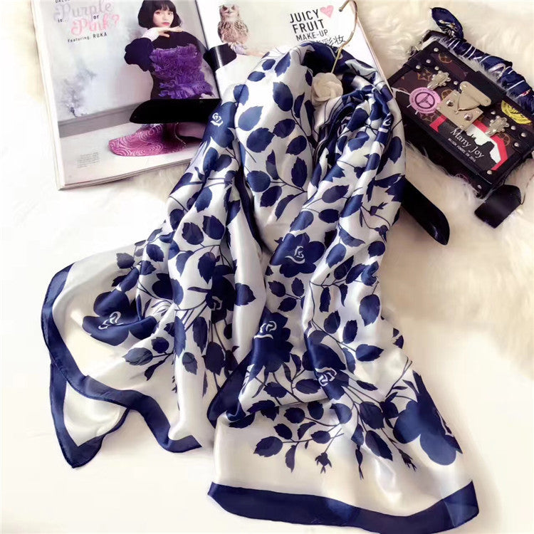 Women's  Silk Scarf Long Scarves Shawl Wrap High Quality Print Beach Cover Up Scarves