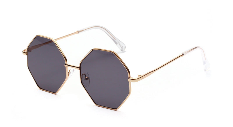 Costbuys  big vintage polygon sunglasses female octagon tinted clear sun glasses for women men metal frame Round - gold with bla
