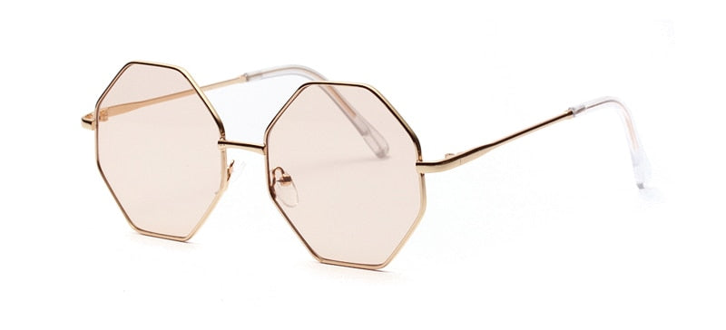 Costbuys  big vintage polygon sunglasses female octagon tinted clear sun glasses for women men metal frame Round - light brown l