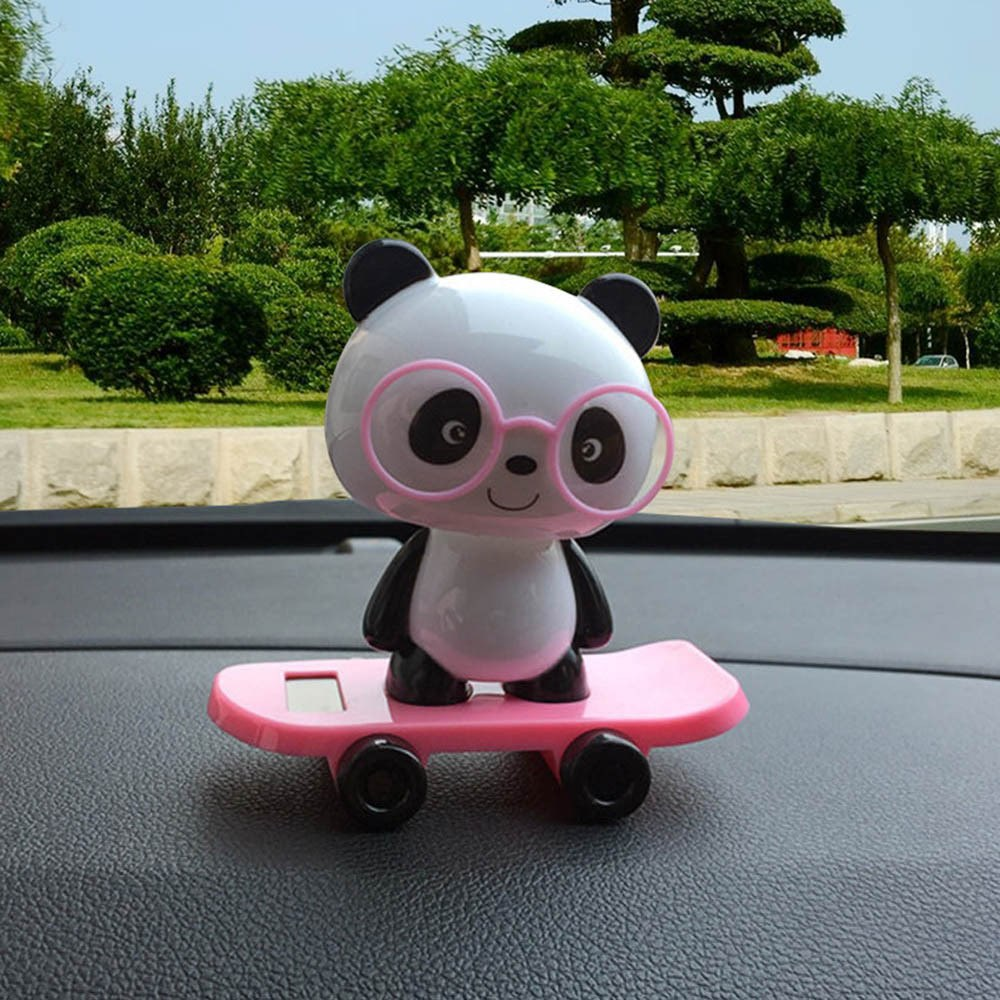 Costbuys  Pink/Yellow/Blue/Green Solar Powered Dancing Cute Panda Animal Swinging 10*6cm Animated Bobble Dancer Toy Car Decor  #
