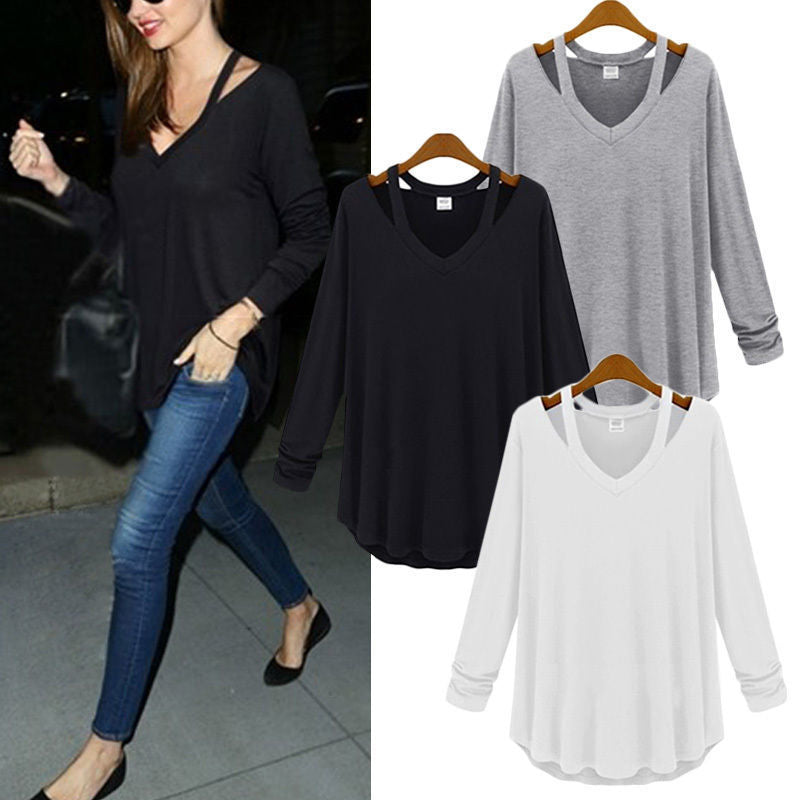ae056c4ea147 Women Casual Shirt V Neck Off Shoulder blouse Cotton Long Sleeve Tops Tee Shirts  Blouse