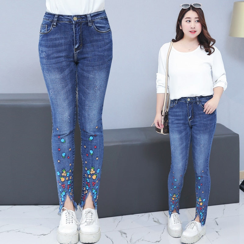fc1792d1106 Plus Size 4XL Embroidery Jeans Woman Spring Summer High Waist Ripped J –  Costbuys