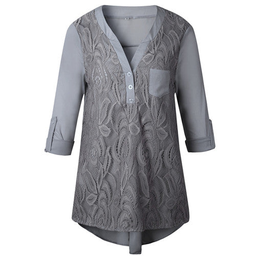 Costbuys  Plus Size Boho Tunic Tops For Women Summer Long Sleeve Floral Lace Blouse Ladies Elegant Chiffon Office Shirt - 2 / S